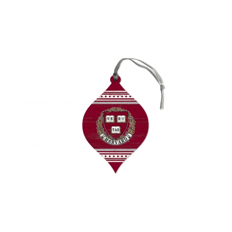 Harvard Wooden Teardrop Ornament