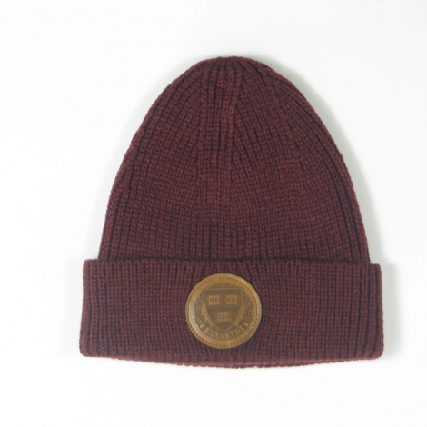 Harvard Ribbed Cuffed Beanie with Leather Patch