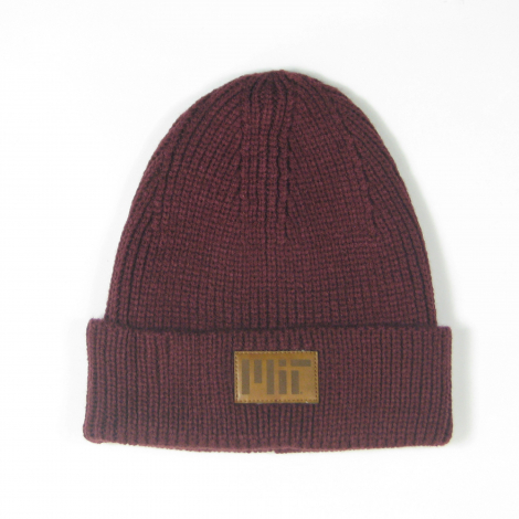 MIT Ribbed Cuffed Beanie with Leather Patch