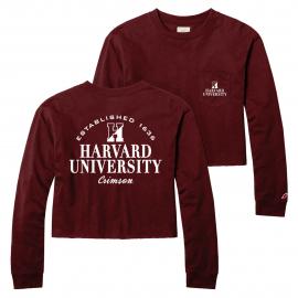 Harvard Women's Long Sleeve Clothesline Midi Crop Tee