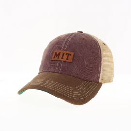 MIT Waxed Cotton Twill Trucker Snapback with Leather Patch Design