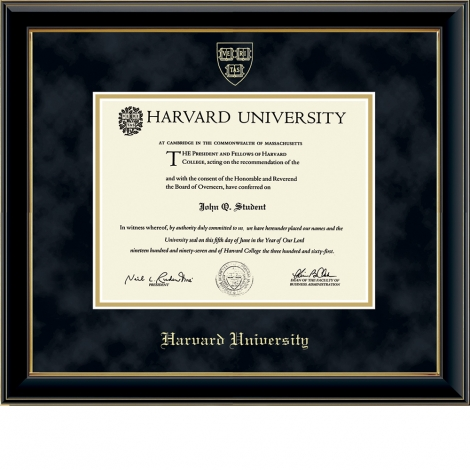Harvard Gold Embossed Undergraduate or Graduate Diploma Frame in Onyx Gold