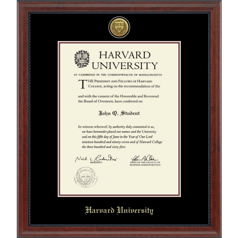 Harvard Gold Engraved Medallion Diploma Frame