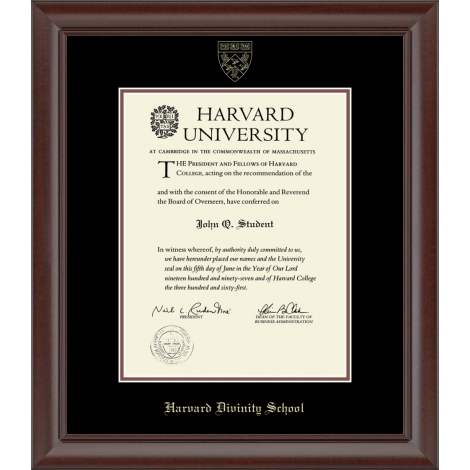 Recycled Wood Harvard Gold Embossed Diploma Frame
