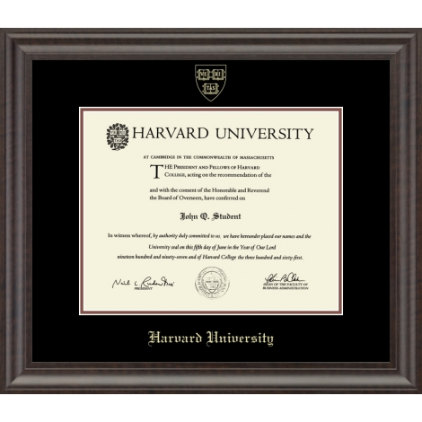 Harvard Recycled Wood Gold Embossed Diploma Frame