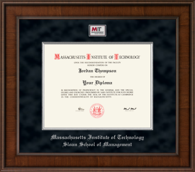 MIT Sloan School of Management Presidential Masterpiece Diploma Frame in Madison with Black Suede Mat