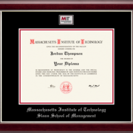 MIT Sloan School of Management Masterpiece Medallion Diploma Frame in Gallery Silver with Black/Red Mats