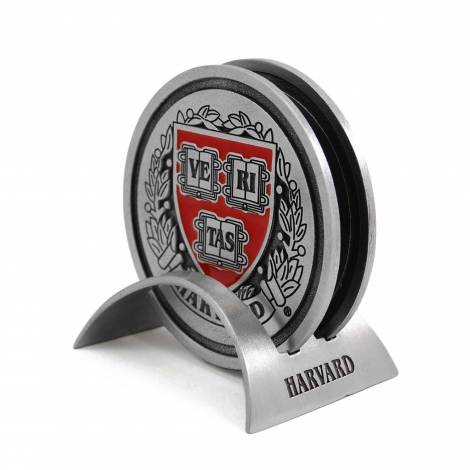 Harvard Two Piece Pewter Coaster Set