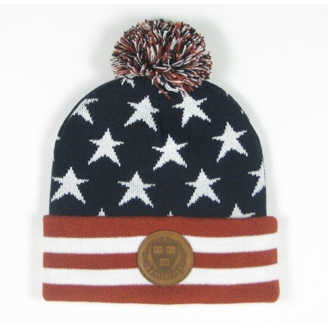 Harvard Americana Multi Star Beanie With Pom