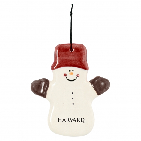 Harvard Ceramic Snowman Ornament