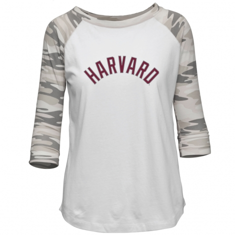 Harvard Women's Camo Baseball Tee