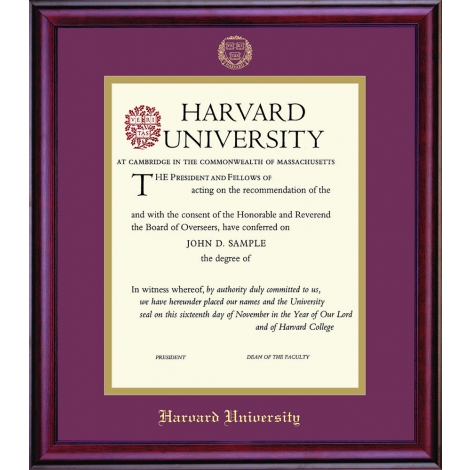 Harvard University Vertical Certificate Frame
