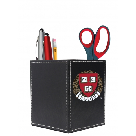 Harvard Seal Leather Square Desk Caddy