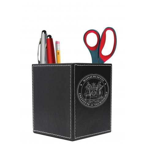 MIT Seal Leather Square Desk Caddy