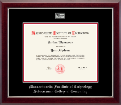 MIT Schwarzman College of Computing Masterpiece Medallion Diploma Frame in Gallery Silver with Black/Red Mats