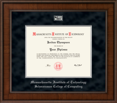 MIT Schwarzman College of Computing Presidential Masterpiece Diploma Frame in Madison with Black Suede Mat