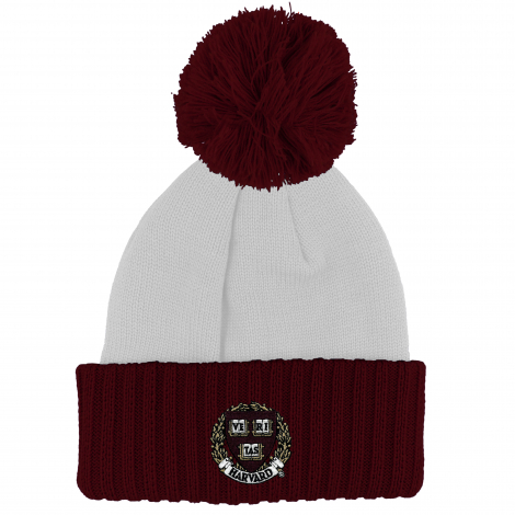 Harvard White Hat with Maroon Cuff and Pom
