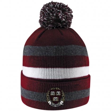 Harvard Primetime Stripe Pom Cuff Knit Beanie