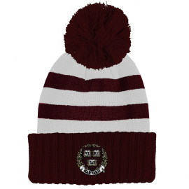 Harvard Cuff Hat with Racing Stripe Pattern and Pom