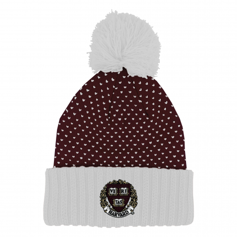 Harvard Cuff Hat with Knit Dot Pattern and Pom