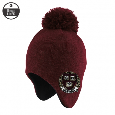 Harvard Toddler Fleece Lined Earflap Pom Beanie