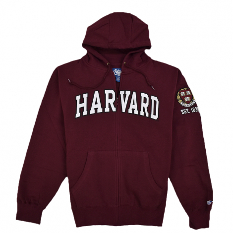 Harvard Embroidered Full Zip Sweatshirt with Sleeve Logo