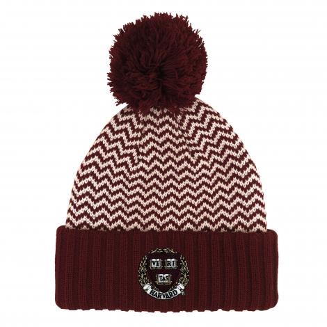 Harvard Cuff Hat with Zig Zag Pattern and Pom
