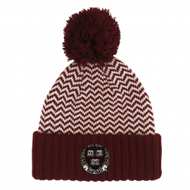 Harvard Cuff Hat with Zig Zag Pattern and Pom