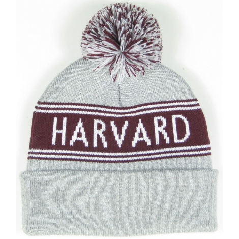 Harvard Knit In Cuff Beanie With Pom