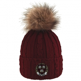 Harvard Cable Knit Fur Pom Hat