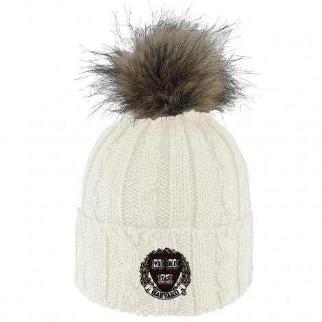 Harvard Cable Knit Faux Fur Pom Beanie