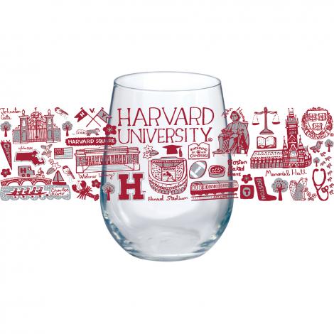 Julia Gash Harvard Set of 4 Stemless Wine Glasses