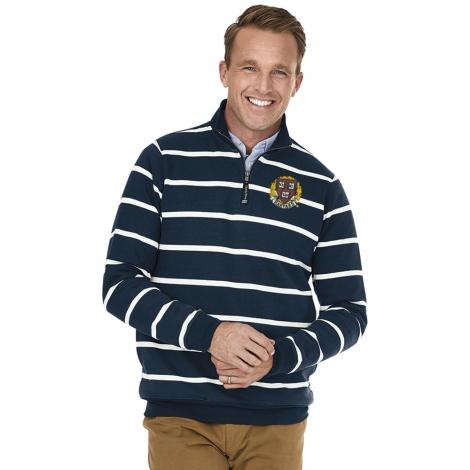 Harvard Navy/White Striped 1/4 Zip Crosswind Sweatshirt