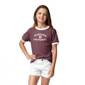Girls Youth Harvard Camp Ringer Tee