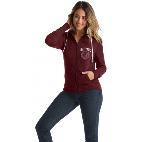 Harvard Women's Tri-Blend Full Zip Hoodie