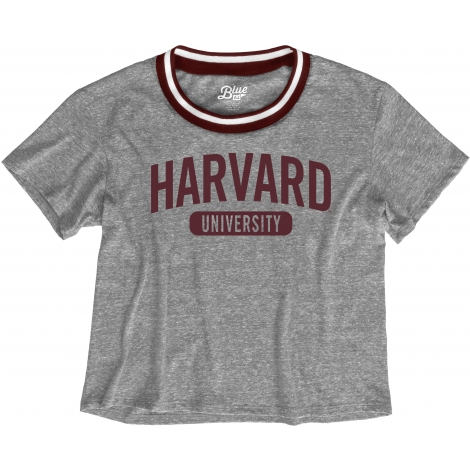 Harvard Women's Blue 84 Brooklyn Varsity Crop Tee Shirt