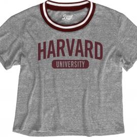 Harvard Women's Blue 84 Brooklyn Varsity Crop Tee Shirt