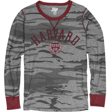 Harvard Women's Blue 84 Camo Long Sleeve Tee