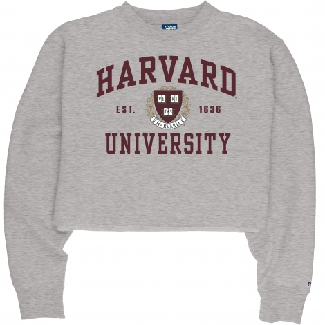 Harvard Women's Blue 84 Cropped Raw Edge Crew