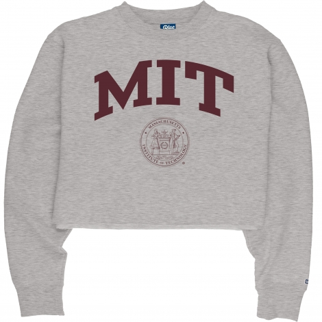MIT Women's Blue 84 Cropped Raw Edge Crew