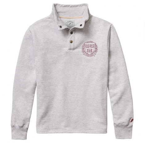 Harvard League Seal 1/4 Snap Brushed Cotton Fleece Pullover