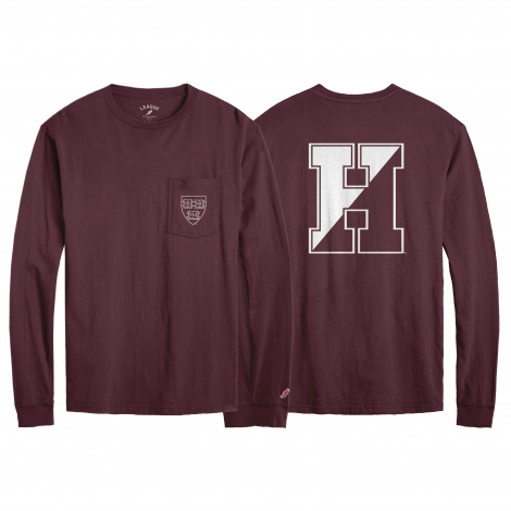 Harvard League Pocket Crew Neck Long Sleeve Tee
