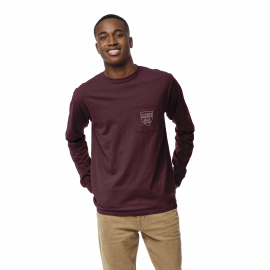 Harvard League Pocket Split H Back Crew Neck Long Sleeve Tee