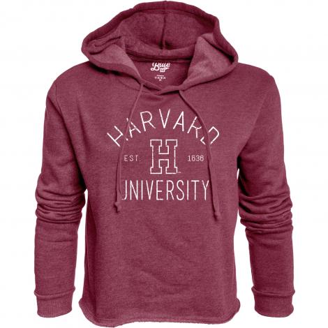 Harvard Women's Raw Edge Crop Fleece Hoodie