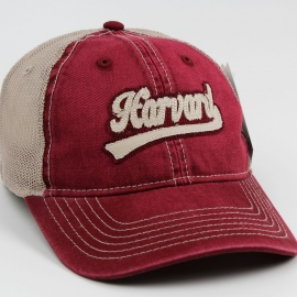 Harvard Maroon/Tan Tea Stained Mesh Hat