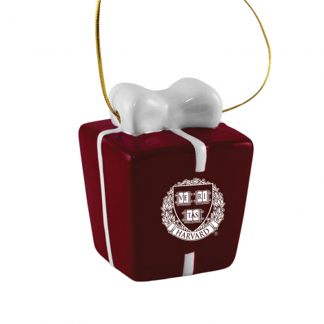 Harvard 3D Christmas Present Ornament