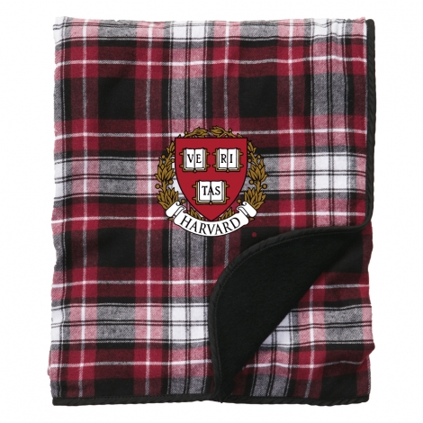 Harvard Plaid Flannel Blanket