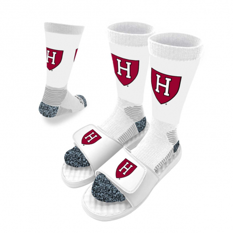 ISlide Harvard Athletic H Shield Sandals and Socks