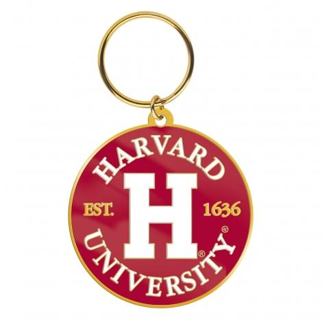 Harvard H Round Brass Key Tag