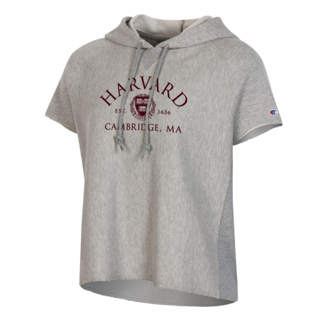 Harvard Women's Reverse Weave Terry Short Sleeve Hooded Sweatshirt